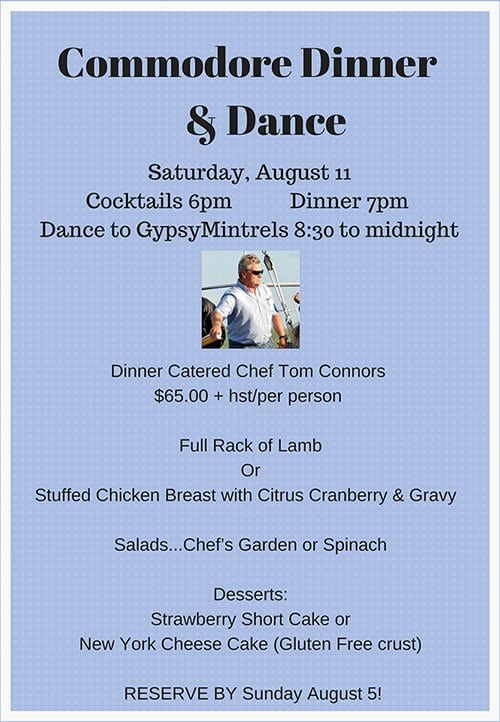 Commodore Dinner & Dance | Saturday, August 11 2018