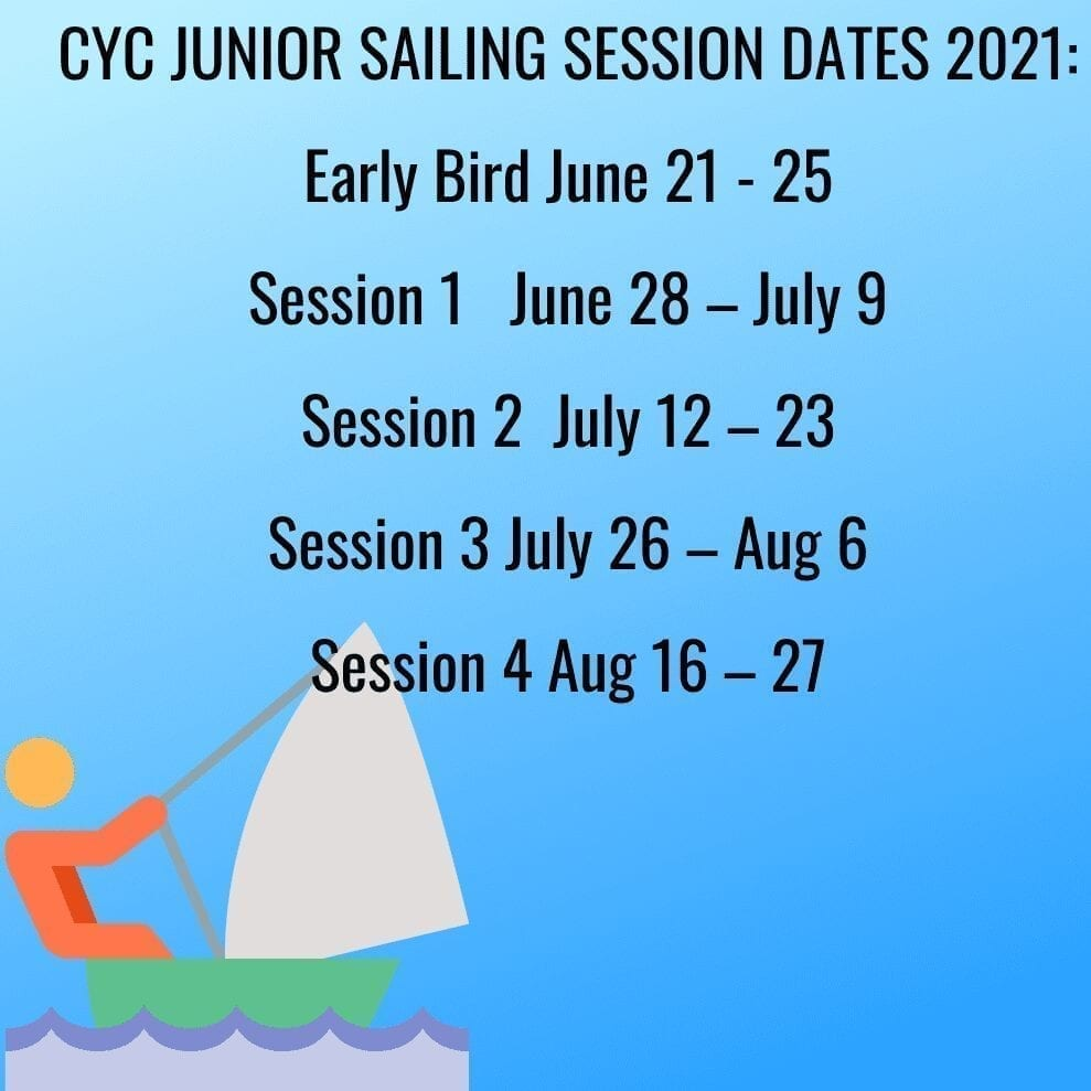 CYC Junior Sailing Session Dates 2021