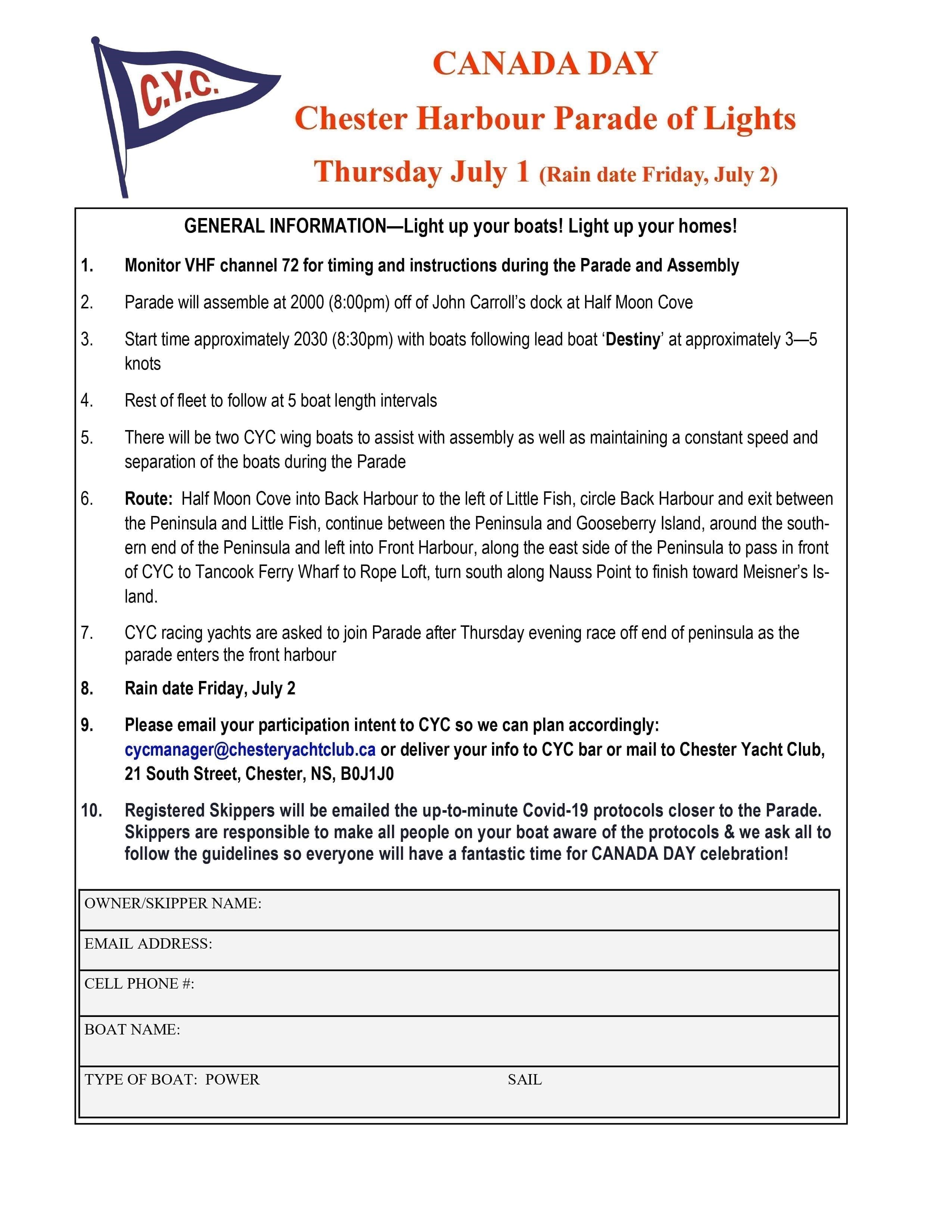 Skippers: Please register your boat for the Canada Day Parade of Lights so we can plan accordingly